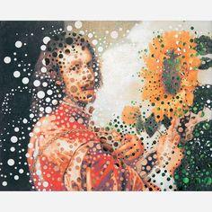 Albano Afonso<br>Perfurador sobre fotografia. <br>80 x 100 cm.