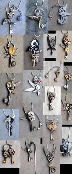 Steampunk Skeleton Key Pendents -
