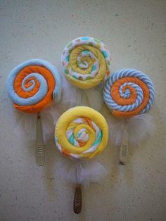 greatjencreations: Tutorial: Making Baby Washcloth Lollipops.
