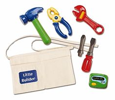 Kidoozie Little Builder Tool Belt - Includes Belt with Pockets, Pretend Hammer, Pliers, Wrench, Screwdriver With 2 Bits, And Electronic Beeper - Ages 2 And Up *** Want additional info? Click on the image.
