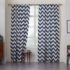 """West Elm - Cotton Canvas Zigzag Curtain - Blue Lagoon $29 per panel - 63"""" length"""