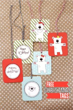 Adorable free Christmas Gift Tags --- a coordinating gift card holder can be found at http://www.designdazzle.com/2014/11/beary-little-christmas-gift-card-holder/