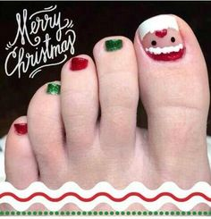 30 Best and Easy Christmas Toe Nail DesignsYou want to get your toenails ready for the holiday season? Are you looking for some cute and festive Christmas toenail art designs? Then, you have come at the right place. You don& have to spend a large sum of& Xmas Nail Designs, Toenail Art Designs, Pedicure Designs, Pedicure Nail Art, Toe Nail Art, Toe Nails, Cute Christmas Nails, Xmas Nails, Merry Christmas