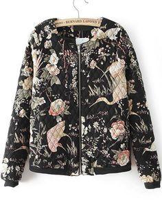 Black Long Sleeve Birds Print Coat 25.00