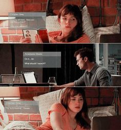 #FiftyShadesOfGrey https://www.pinterest.com/lilyslibrary/ Ana and Christian chat