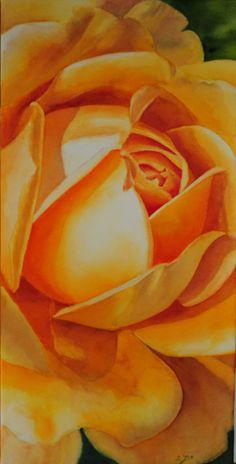 Amarillo rosa pintura acuarela pintura por Doris Joa por dorisjoa