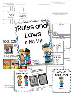 """Rules and Laws - Standard: (Government Strand) There are different rules and laws that govern behavior in different settings. Literature: """"Rules and Laws"""" by Ann-Marie Kishel. Kindergarten Rules, Kindergarten Social Studies, Social Studies Worksheets, Social Studies Activities, Teaching Social Studies, Kindergarten Activities, Student Teaching, Kid Activities, Teaching Ideas"""