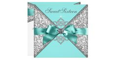 Beautiful white diamonds and teal blue with silver gray damask sweet 16 birthday party invitation. Add your details to the front and back of this elegant teal blue birthday party invitation by adding your event details, font style, font size & color, and wording.