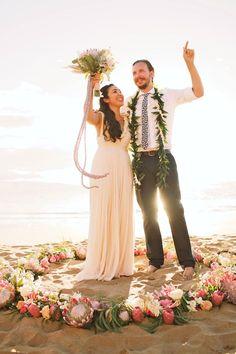 Gorgeous wedding flower circle and floral bouquet- beach wedding- Maui, Hawaii - Anna Kim Photography