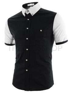 (AL236-BLACK) Mens Slim Fit Stretchy Two-Tone Button Down Short Sleeve Cotton Shirts