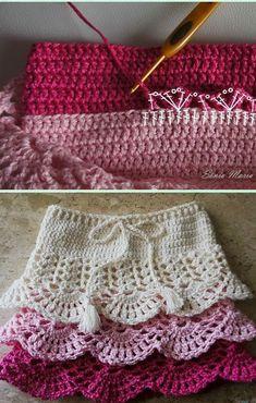 Crochet Layered Shell Stitch Skirt Free Pattern [Video]- Crochet Girls Skirt Free Patterns # free crochet patterns for baby hats Crochet Girl's Skirt Free Patterns