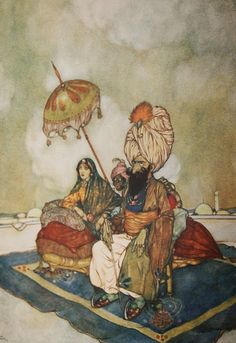 Edmund Dulac - And this time the princess had been watching the combat from the roof of the palace. Arabian Nights.