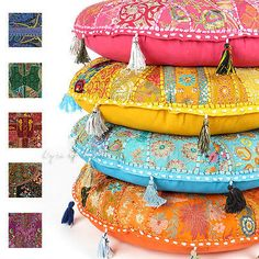 "LARGE SELECTION - 28"" LARGE DECORATIVE FLOOR PILLOW SEATING CUSHION POUF COVER"
