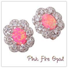 925 Silver Pink Fire Opal Lever-Back Earrings 925 Silver Pink Fire Opal & White Topaz Lever-Back Earrings Hallmarked 925 Jewelry Earrings