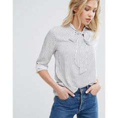 Mango Stripe Tie Neck Blouse ($57) ❤ liked on Polyvore featuring tops, blouses, multi, striped blouse, neck-tie, white tie blouse, white high neck blouse and white rayon blouse