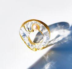 Glass Jewelry by Kazuko Mitsushima. at Gallery Deux Poissons - Kazuko Mitsushima Ring: Untitled, 2015 glass, pearl , yellow gold leaf 14k Single piece .