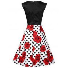 Polka Dot Floral Print Cotton Vintage Dress - FLORAL S