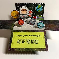 "25 Likes, 9 Comments - Apearl B (@lirpa1972) on Instagram: ""Lawn Fawn Out of this world scalloped box pop up card. #lawnfawnatics # birthday challenge"""