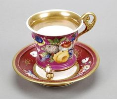 Minton Bone China Claret Cup and Saucer Painted with Sprays of Flowers and Three Lions Paw Feet 1830