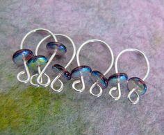 Ultra Violet Darwin Fish  Knit or Crochet by DorsetHillBeads