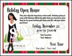 Mary kay holiday cheer open house invitation customize this entire open house holiday shoppingparty postcard different looks using eyeshadow in various colors shop 24 hours a day visit me your mary kay independent stopboris Choice Image