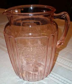Pink Depression Glass: another one of my favorite things.  Want a biscuit jar so bad.