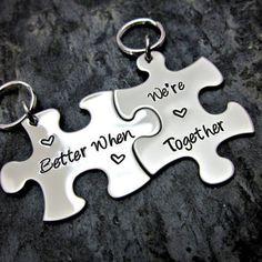 Better When We're Together - Couple's / Best Friends Interlocking Puzzle Keychain - Metal Stamped - SLC Original Design