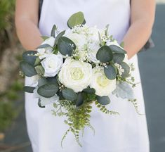 country wedding CLEARANCE End of the season sale Handmade Keepsake off white blue greenery rose bridal bouquet silk flowers outdoors