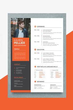 Kavin editable resume templateFile Paper Page/Template Resume/CVOne Page/Template Reference& One Page/Template Cover Design Web, Graphic Design Resume, Creative Resume Design, Ads Creative, Portfolio Web, Portfolio Resume, Creative Cv Template, Resume Design Template, Cv Original