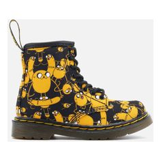 Dr. Martens Toddlers' Brooklee Canvas Jake Print Lace Low Boots (€41) ❤ liked on Polyvore featuring shoes, boots, ankle booties, black, dr martens boots, black lace up ankle booties, laced up boots, flat ankle booties and black flat ankle booties