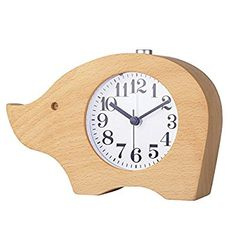 Amazon|ECVISION 天然木製置き時計 多機能目覚まし時計 アラームクロック 象の形時計 ハンドメイド アラーム 静かなスイープセコンド 木目調|置き時計・掛け時計 オンライン通販