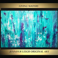 Original Large Abstract Painting Modern Contemporary Canvas Art Turquoise Purple LIVING WATERS 36x24 Palette Knife Texture Oil J.LEIGH