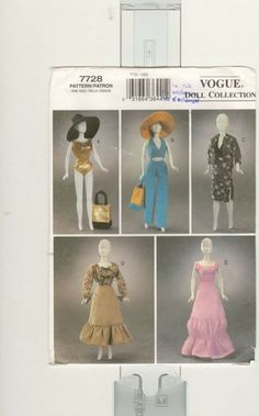 Fashion Doll Clothes Sewing Pattern Vogue Doll Collection 7728 UNCUT Clothing will fit fashion doll. Sewing Barbie Clothes, Barbie Sewing Patterns, Sewing Dolls, Doll Clothes Patterns, Clothing Patterns, Doll Patterns, Barbie Und Ken, Free Barbie, Barbie Dress