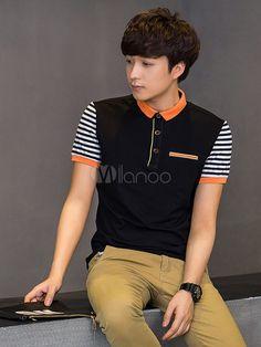 Stripes Polo Shirt Multicolor Cotton Polo Shirt for Men Work Polo Shirts, Mens Polo T Shirts, Boys T Shirts, Camisa Polo, Mens Half Sleeve, Striped Polo Shirt, Shirt Designs, Mens Fashion, Mens Tops