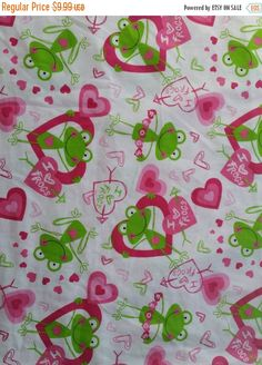 Quilters fabric with frogs hearts sewers by ConniesQuiltFabrics