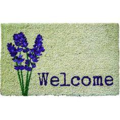 Entryways Lavender Welcome 18 in. x 30 in. Hand Woven Coconut Fiber Door Mat