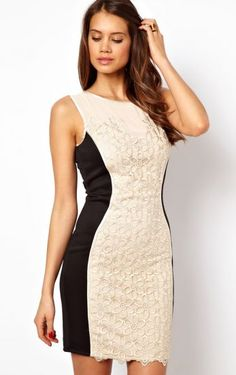 White Contrast Black Panel Sleeveless Floral Embroidery Dress pictures