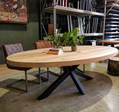 Zie hier een ovale tafel in 240x140cm! Wij maken ovale tafels in elke maat, dikte en vorm; precies zoals jij dat wilt!😇 #leveninstijl #leveninstijlmeubelmakerij #leven #ovaal #ovaletafel #maatwerk #ellips #woonideeen #interieur #interieurstyling Dining Room Remodel, Wooden Sofa Designs, Wooden Kitchen Table, Living Dining Room, Oval Table Dining, Diy Dining Room Table, Dining Table Chairs, Dining Room Blue, Dinning Room Table Decor