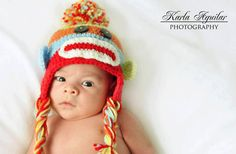 Crochet Multicolored Sock Monkey Hat with Ear Flaps and Braids