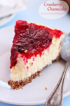A creamy velvety cheesecake topped with cranberry sauce. The crust is made from ground almonds and the filling form a mixture of cream cheese, eggs and heavy cream, deliciously paired with the tart cranberry sauce. Recipe from roxanashomebaking.com
