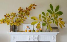 The mantel could be lined with vases of fall leaves or branches with red berries.