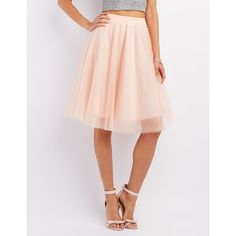 Charlotte Russe Tulle Full Midi Skirt ($27) ❤ liked on Polyvore featuring skirts, blush, pink skirt, layered tulle skirt, high waisted midi skirt, high waisted knee length skirt and high-waisted skirts