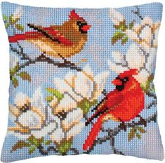 Collection d'Art On A Branch Magnolia - Stamped Needlepoint Cushion Kit. Needlepoint pillow kit featuring birds and flowers. This kit includes Sudan stramin, 20 Cross Stitch Bird, Cross Stitch Animals, Cross Stitch Designs, Cross Stitch Embroidery, Cross Stitch Patterns, Needlepoint Pillows, Needlepoint Patterns, Art Rose, Embroidery Techniques
