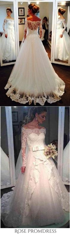 Ball Gown Long Sleeve Off the Shoulder Wedding Dresses Lace Appliques Bridal Dresses, This dress could be custom made, there are no extra cost to do custom size and color Boat Neck Wedding Dress, Strapless Lace Wedding Dress, Spaghetti Strap Wedding Dress, Chic Wedding Dresses, Lace Mermaid Wedding Dress, Bridal Dresses, Burgundy Homecoming Dresses, Best Prom Dresses, Cheap Prom Dresses