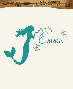 Kids mermaid decor Monogram Wall Decal personalized coastal sign lettering, beach art wall sticker on Etsy, $21.00