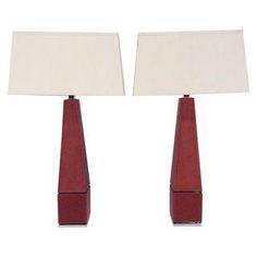 Ralph Lauren Chrome Stitched Leather Lamps - Pair
