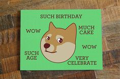 Doge Birthday Card Such Birthday  Funny Card by TinyBeeCards