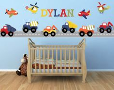 Truck Wall Decals, Construction Trucks, Plane Decal, Helicopter, Personalized Name Decal. These bold and colorful construction trucks will brighten Baby Wall Decals, Wall Stickers, Chambre Nolan, Boy Room, Kids Bedroom, Nursery, Helicopters, Planes, Koti