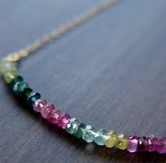 SALE Multi Tourmaline Gold Necklace