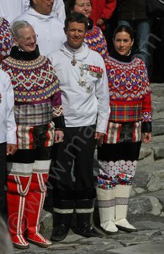 Queen Margrethe, Crown Prince Frederik, and Crown Princess Mary in traditional dress of Greenland